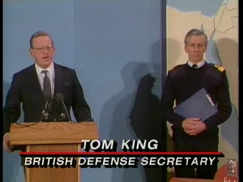 british defense secretary tom king announces the loss of a british tornado plane during operation desert storm - (war or terrorism or election or government or illness or news event or speech or politics or politician or conflict or military or extreme weather or business or economy) and not usa video stock e b–roll