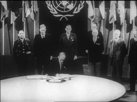 british delegate signing un charter / sf / newsreel - 1946 stock videos and b-roll footage