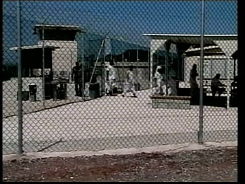 british detainees to be sent home; file cuba: guantanamo bay: camp delta: ext lms line of detainees along from prison compound int cms detainee... - guantanamo bay stock videos & royalty-free footage
