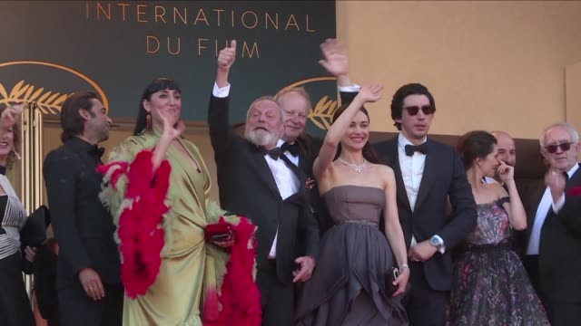 stockvideo's en b-roll-footage met british director terry gilliam and the team for his film the man who killed don quixote walk the red carpet for the cannes film festival's closing... - terry gilliam