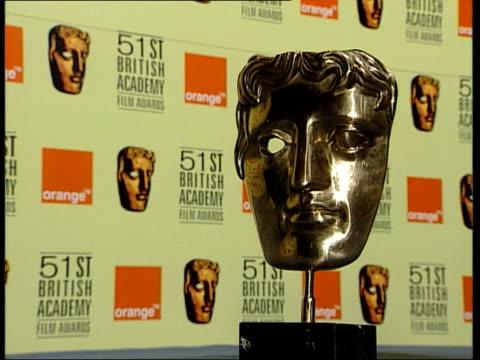 british dominance; itn gv bafta award trophy zoom in cf = b0130303 or b0549462 13.07.49 to 13.09.01 mix/fx pab = b0544673 - bafta mask stock videos & royalty-free footage