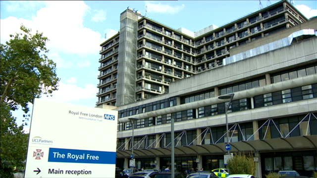 british ebola victim william pooley receiving zmapp treatment england london royal free hospital building with sign - will.i.am stock videos & royalty-free footage