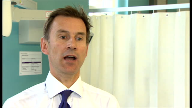 British Ebola victim William Pooley receiving ZMapp treatment ENGLAND London INT Jeremy Hunt MP interview SOT