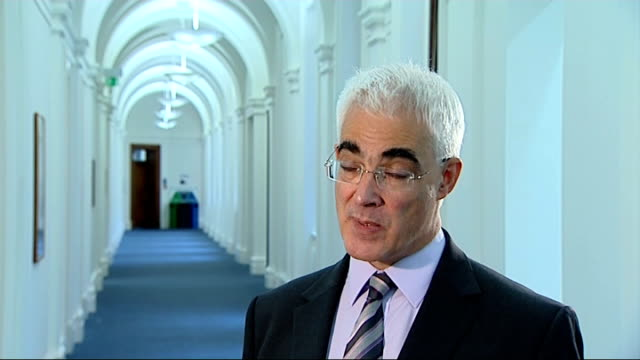 darling itv interview england london westminster int alistair darling mp interview sot reacts to uk economy shrinking because of global conditions /... - alistair darling stock videos & royalty-free footage