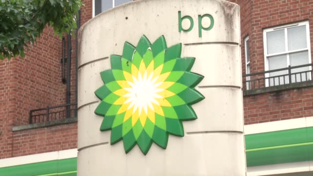 stockvideo's en b-roll-footage met british energy major bp says 2017 net profits rocketed to almost $34 billion boosted mostly by a recovery in the crude oil market - bp