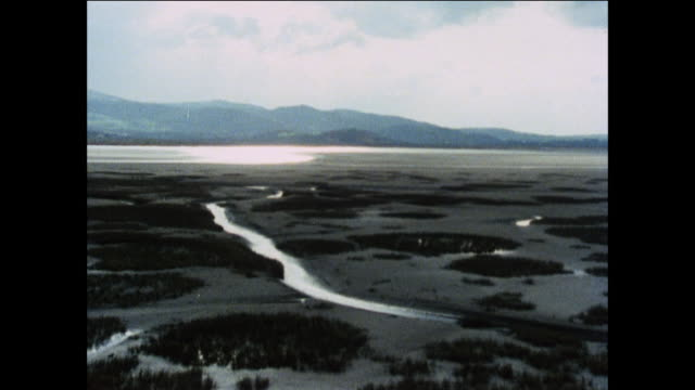 aerial a british estuary, rivers and distant mountains / united kingdom - peter greenaway stock videos & royalty-free footage