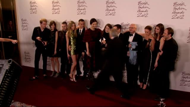 British Fashion Awards 2012 General views of awards winners posing together including JW Anderson Alexa Chung Nicholas Kirkwood Cara Delevingne...