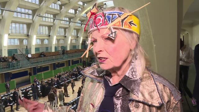 British fashion designer Vivienne Westwood shows her latest collection on the catwalk on the final day of the Autumn/Winter 2017 London Fashion Week...