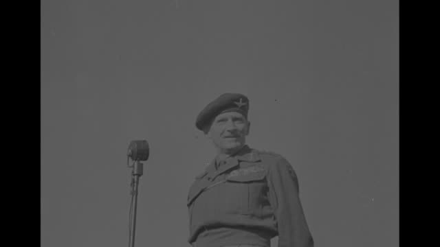 vs british field marshal bernard montgomery speaks at microphone to a large group of canadian paratroopers / note exact day not known - field marshal stock videos and b-roll footage