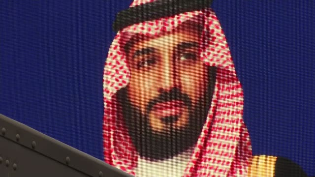 british firms hope to benefit from saudi crown prince's visit to uk london ext close shot of picture of mohammed bin salman on electronic billboard... - prince stock videos & royalty-free footage