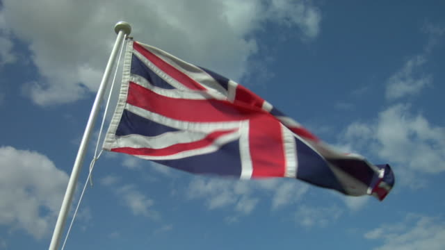 cu, la, british flag flapping against sky - british flag stock videos & royalty-free footage