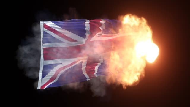 british flag is appearing into the flames and waves on black background in 4k resolution - politics abstract stock videos & royalty-free footage