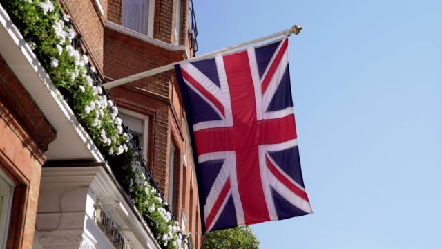 British Flag on Townhouse in London Sloane Square