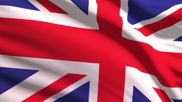 british flag waving in the wind with highly detailed fabric texture. seamless loop - british royalty stock videos & royalty-free footage