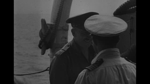 ws british fleet near singapore / british military nurses on board ship posing for photo opportunity / british warship hms sussex cruises past camera... - japanese surrender stock videos & royalty-free footage
