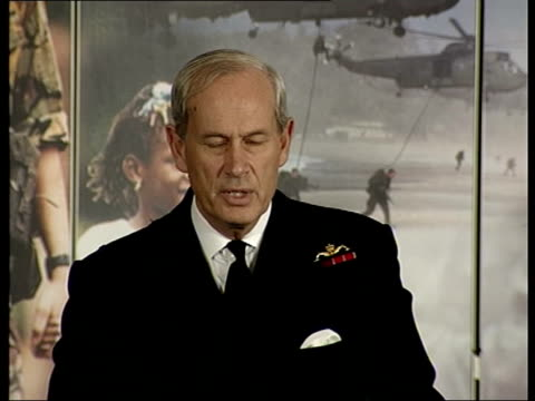 british forces; admiral sir michael boyce along into press conference dunn asking question about marine deployment sot admiral sir michael boyce... - itv late evening bulletin点の映像素材/bロール
