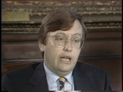 british foreign minister david mellor says his nation should not send minesweepers to the persian gulf. - (war or terrorism or election or government or illness or news event or speech or politics or politician or conflict or military or extreme weather or business or economy) and not usa stock videos & royalty-free footage