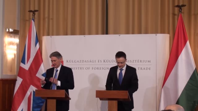 british foreign minister philip hammond and hungarian minister of foreign affairs and trade peter szijjarto hold a joint press conference following... - hungarian culture stock videos & royalty-free footage