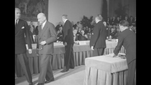 british foreign secretary anthony eden french foreign minister robert schuman us secretary of state dean acheson and west german chancellor konrad... - seal stamp stock videos and b-roll footage