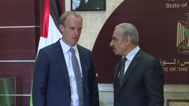 british foreign secretary dominic raab urges palestinians to consider direct dialogue with israel in the wake of the uaeisrael deal reaffirming the... - israel palestine conflict stock videos & royalty-free footage