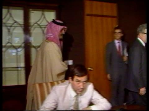British Foreign Secretary Sir Geoffrey Howe arrives for talks SAUDI ARABIA Riyadh MS Sir Geoffrey Howe seated with Prince Saud AlFaisal Saudi...