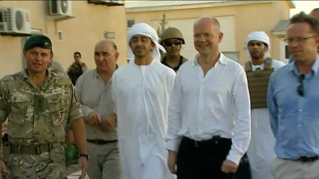 british foreign secretary william hague visit photographers / hague and sheikh abdullah posing for photocall hague and sheikh abdullah sat at table... - provincial reconstruction team stock videos and b-roll footage