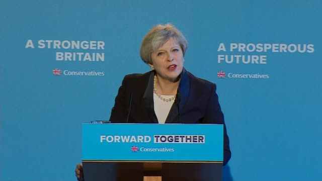 British Gas raises electricity prices by 125 percent 1852017 / R180517005 INT Theresa May speech at Conservative Party manifesto launch during 2017...