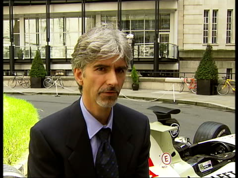 British Grand Prix Damon Hill and Rick Parfitt photocall and interviews Damon Hill interview SOT On leaving Formula One to become President of BRDC /...