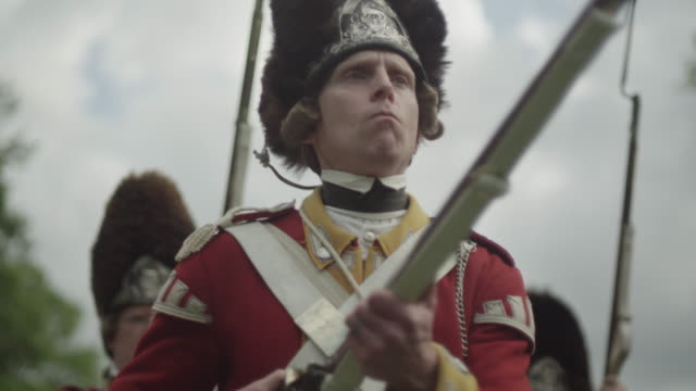 british grenadier soldiers firing muskets - rifle stock videos & royalty-free footage
