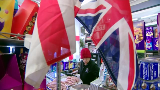British grocery store in New York selling British food and has Union Jack Bunting up