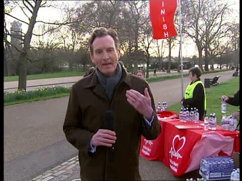 British Heart Foundation Hyde Park Jog event ENGLAND London Hyde Park EXT Reporter to camera and interviewing Adam Brockett SOT