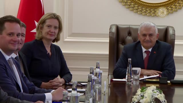 british home secretary amber rudd is received by turkish prime minister binali yildirim at the cankaya palace in ankara turkey on september 14 2017... - türkischer premierminister stock-videos und b-roll-filmmaterial