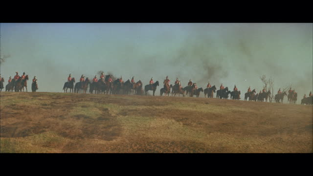 ms british horse cavalry lining up on hill top - cavalry stock videos & royalty-free footage