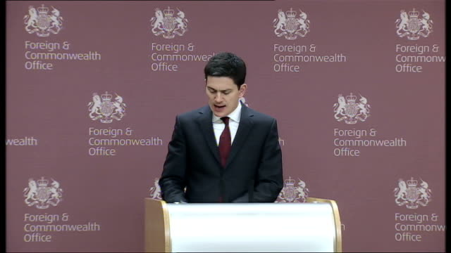 british hostage peter moore freed; england: london: foreign office: int david miliband mp press conference sot - just had a very moving conversation... - moving office stock videos & royalty-free footage