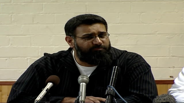British Islamic leaders' press conference on fifth anniversary of 9/11 World Trade Center attacks Anjem Choudary press conference SOT On real...