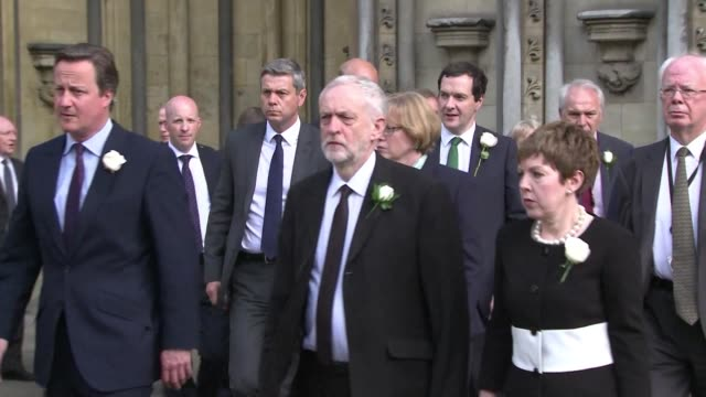 british lawmakers arrive in procession at st margaret's church in westminister for a remembrance service in honour of slain labour mp jo cox - jo cox politician stock videos and b-roll footage
