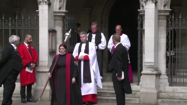 british lawmakers leave st margaret's church in westminister following a remembrance service in honour of slain labour mp jo cox - jo cox politician stock videos and b-roll footage