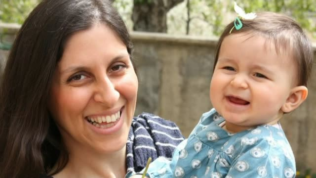 british men lobbying meps to help secure release of loved ones held by iranian authorities nazanin zagheriradcliffe with daughter gabriella - nazanin zaghari ratcliffe video stock e b–roll