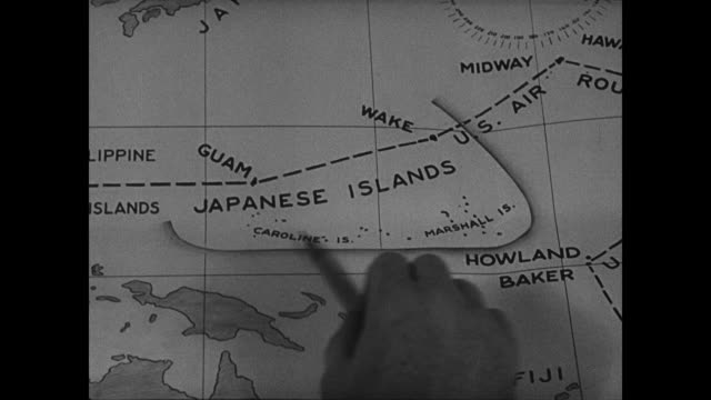 dramatization british men looking at british map showing jarvis baker amp howland islands as british property tokyo naval officers worried near their... - marshall islands stock videos & royalty-free footage