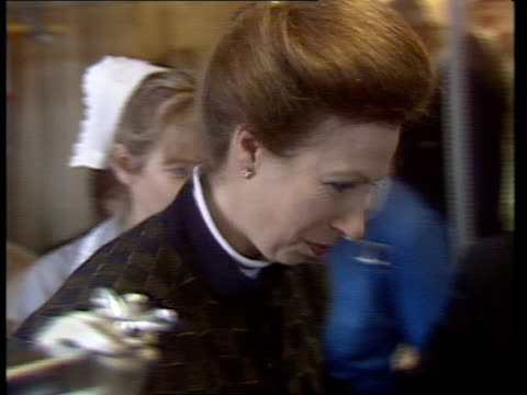 survivors a england leicestershire royal infirmary princess anne princess royal in black skirt blouse towards with sister tcs patient pull out... - blouse stock videos & royalty-free footage