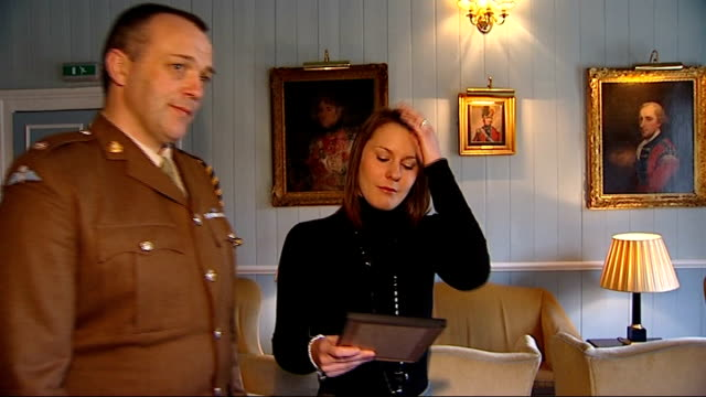 140 british military service personnel honoured with military awards widow of dan shepherd receives posthumous award int kerry shepherd stood talking... - widow stock videos & royalty-free footage