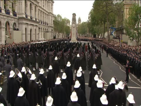 british military stand in line for the remembrance sunday parade - british military stock videos and b-roll footage