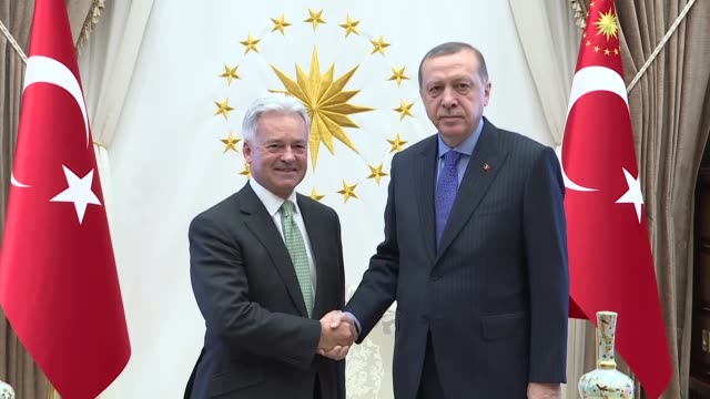 british minister of state for europe and the americas alan duncan is received by turkish president recep tayyip erdogan at the presidential complex... - alan duncan stock videos & royalty-free footage