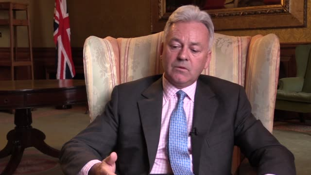 british minister of state for europe and the americas alan duncan speaks to the press during an exclusive interview in london on february 18, 2017. - alan duncan stock videos & royalty-free footage