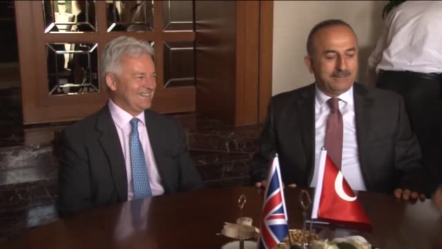 british minister of state for the foreign office, alan duncan meets with turkish foreign minister mevlut cavusoglu and turkish minister of youth and... - alan duncan stock videos & royalty-free footage
