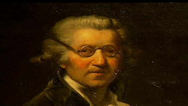 British Mona Lisa painting goes on display Close up of portrait painting of Sir Joshua Reynolds DISSOLVE TO