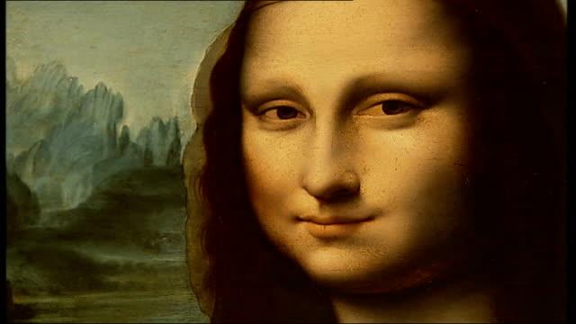 British Mona Lisa painting goes on display CUTAWAY Close up of copy of 'Mona Lisa' painting DISSOLVE TO