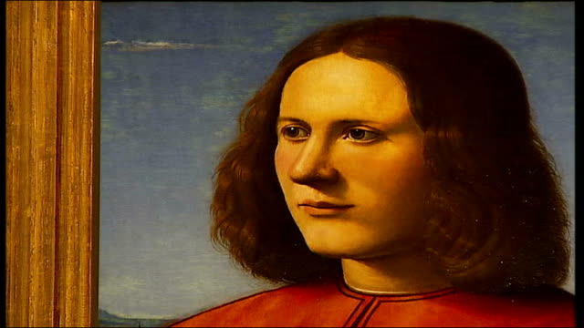 British Mona Lisa painting goes on display INT Close up portrait painting mistakenly bought by gallery in belief it was painted by Leonardo Da Vinci...