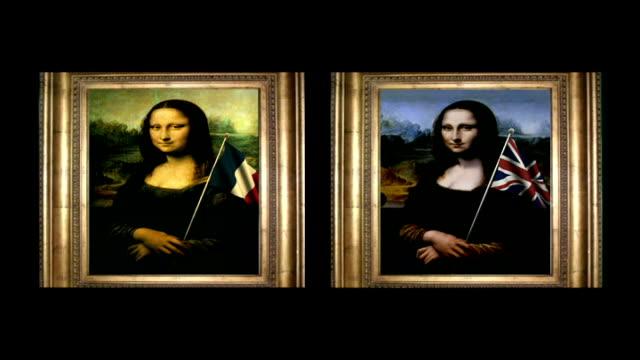 British Mona Lisa painting goes on display Music overlaid on following shots SOT * * Framed 'original' portrait of the Mona Lisa as SPLIT SCREEN...