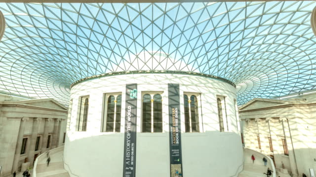 british museum great hall timelapse vertical pan down - british museum stock videos & royalty-free footage